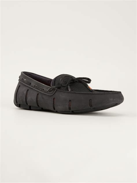 swims black loafers swims laceup loafers in black for lyst