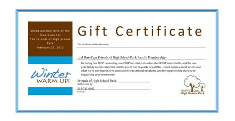 silent auction gift certificate template silent auction certificate images search