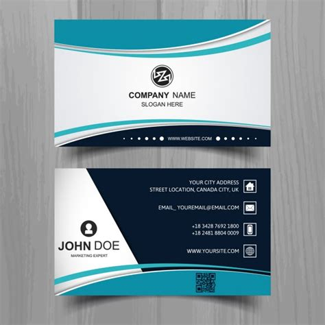 business card template wavy modern business card with turquoise wavy shapes vector