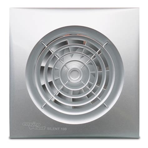 envirovent bathroom extractor fans silent 100mm silver bathroom fan with adjustable timer