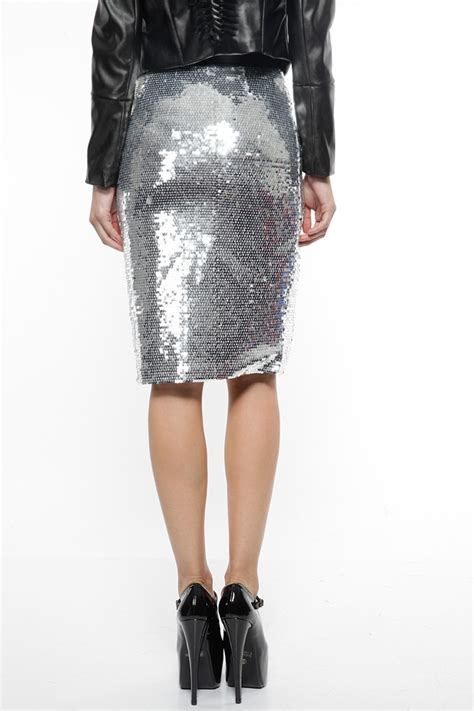 silver sequin slit pencil skirt cicihot