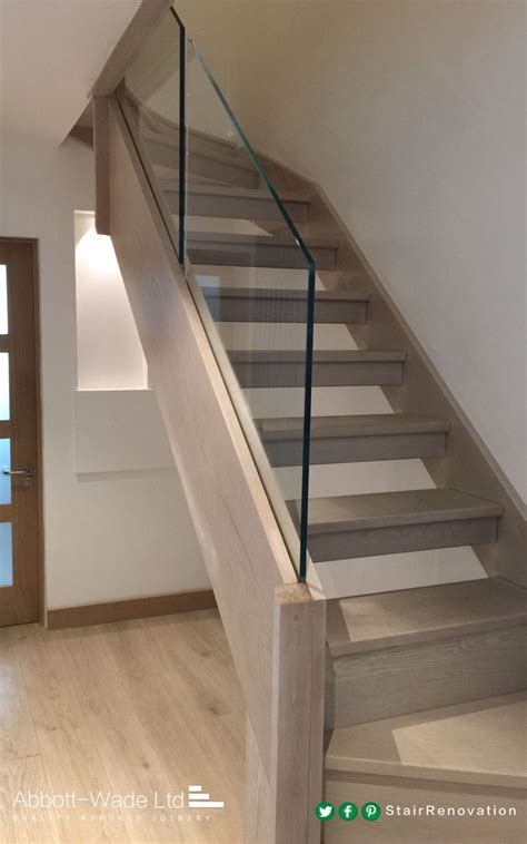 stair banister glass abbott wade open tread stained oak staircase with