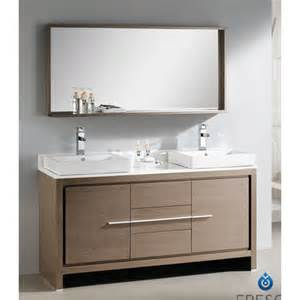 Fresca allier 60 quot modern double sink bathroom vanity set with mirror