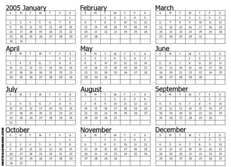 Calendar For 2005 Image Gallery 2005 Calendar Year