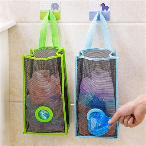 Mesh Bag Organizer blue l hanging mesh garbage bag organizer dispenser