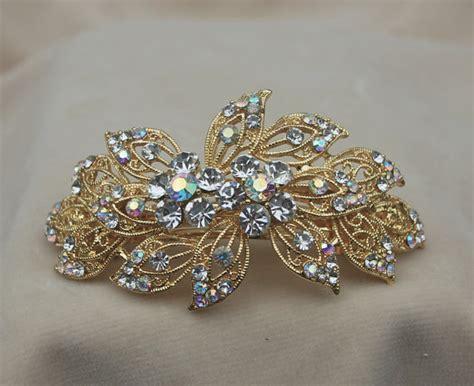 Rhinestone Hair Clip rhinestone bridal gold hair clip barrette wedding hair