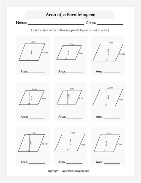 free printable area of parallelogram worksheets calculate the area of these parallelograms using the