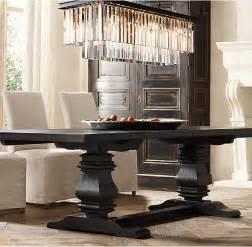 Restoration Hardware Dining Room restoration hardware has a black trestle table that looks interesting