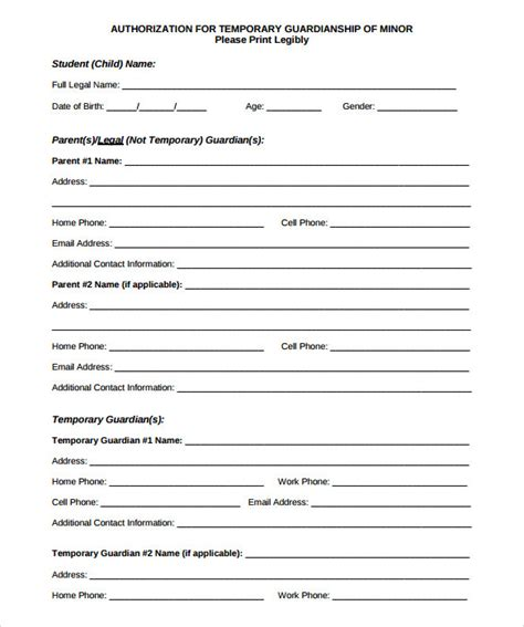 free printable temporary guardianship form anuvrat info