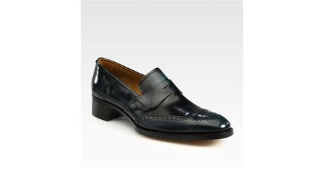 wingtip loafers prada wingtip loafers in black for lyst