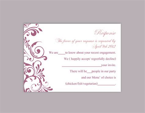 diy wedding cards template diy wedding rsvp template editable text word file