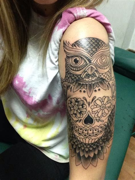 almost finished owl and sugar skull half sleeve owl