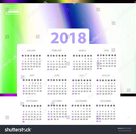 2018 calendar banner merry christmas and happy new year 2018