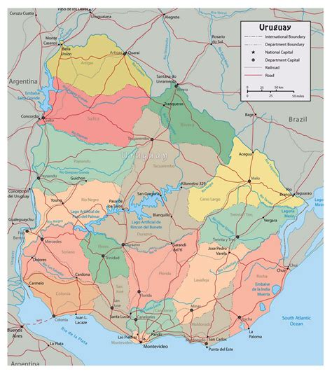 political map of uruguay large political and administrative map of uruguay with