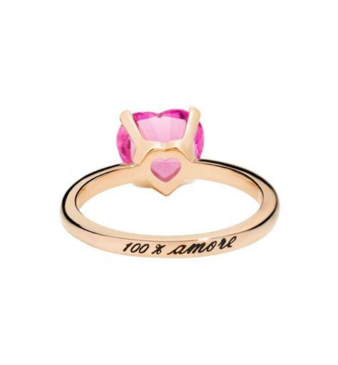 anello pomellato cuore anello 100 oro rosa 9 ct zaffiro rosa