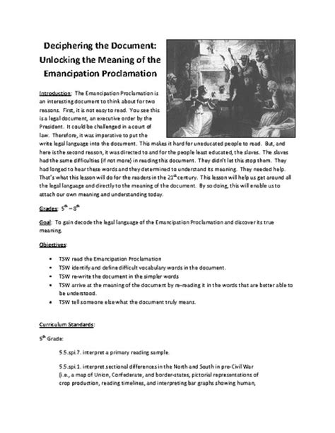 printable version of emancipation proclamation emancipation proclamation worksheet free worksheets