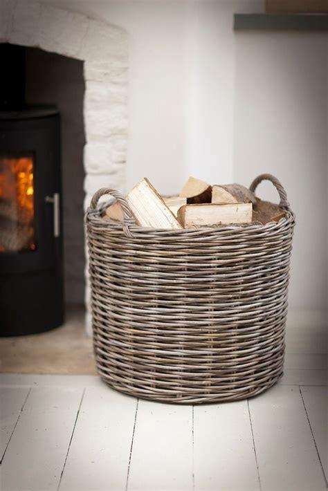 large round wicker log basket fireside garden trading