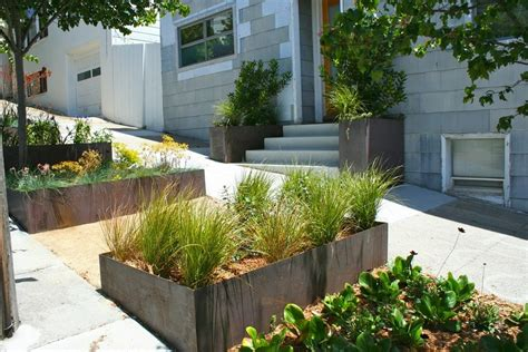 Front Yard Planters by Corrugated Metal Planter Box Landscape With Wood Paneling City Garden Wood Fence