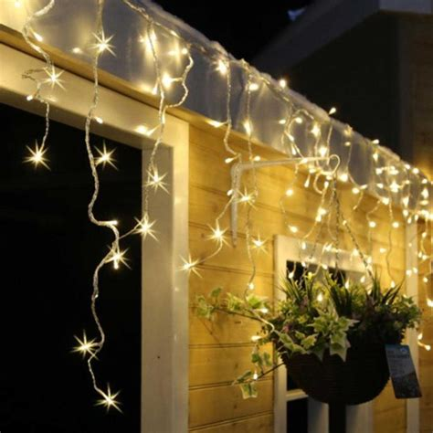 snowing icicle outdoor lights 240 warm white led snowing icicle lights