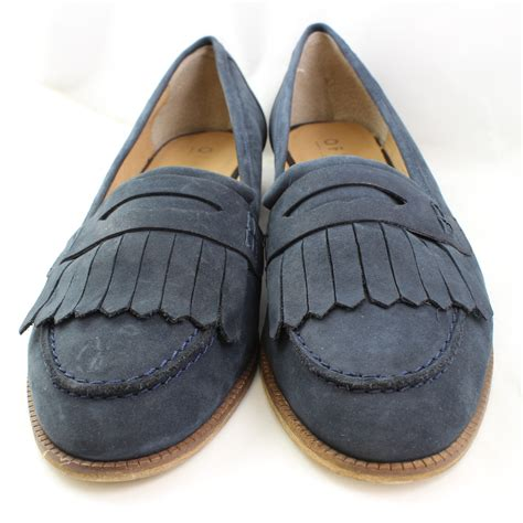 navy blue loafers womens womens office navy blue leather loafers uk size 8 ex display