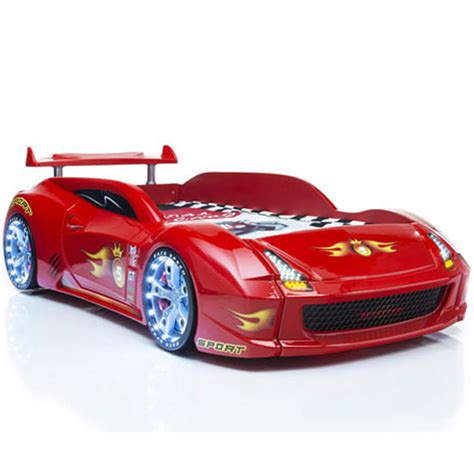 sports car bed m7 children s sports car bed in red with spoiler and led lig