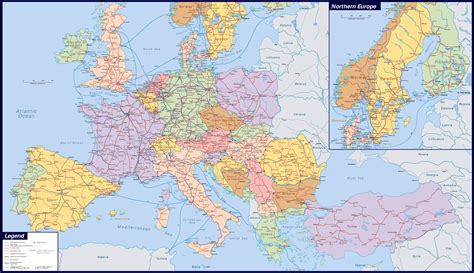 large map of large detailed railways map of europe europe mapsland