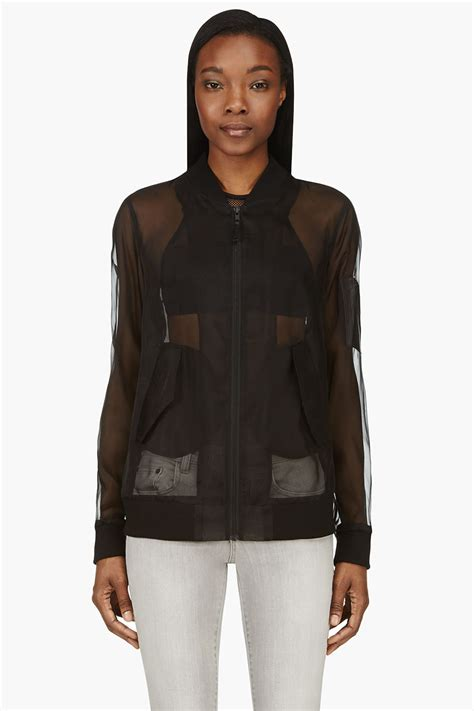 Sheer Jacket blk dnm organza and leather sheer bomber jacket in black