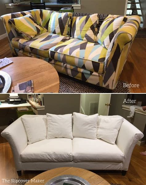 white denim slipcovers for sofa sofa slipcover makeover from bold print to solid white
