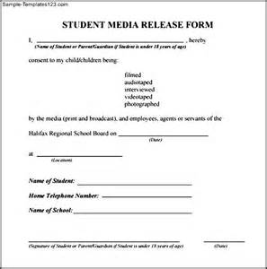 media release form template student media release form sle templates