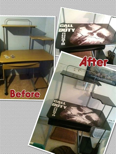 call of duty room decor call of duty desk for a boy s room spray paint wood mod podge poster cut out onto desktop