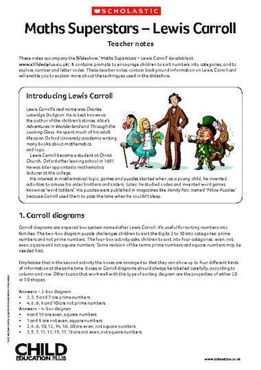 biography of lewis carroll ks2 lewis carroll maths superstars teacher notes primary
