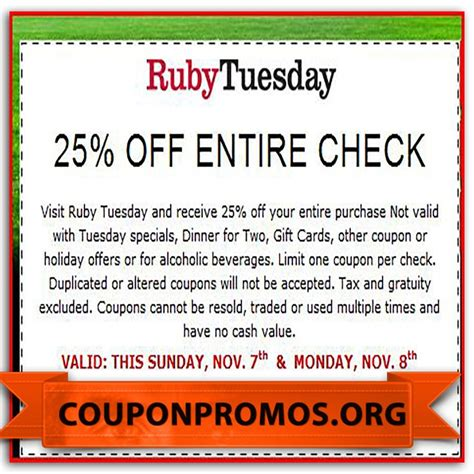 printable job application for ruby tuesdays 1000 images about printable christmas coupons on pinterest