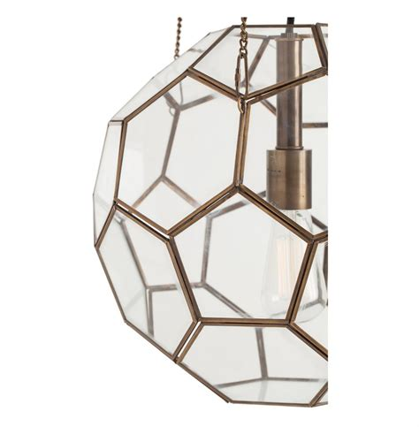 Geometric Pendant Light by Beck Brass Glass Faceted Geometric Modern Vintage Pendant