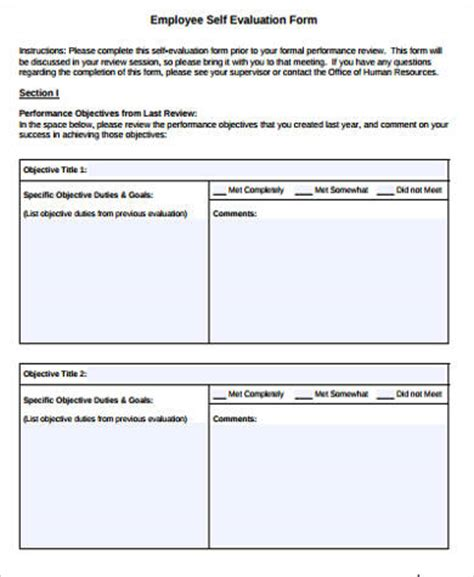 employee self evaluation form template sle self evaluation form 10 exles in word pdf