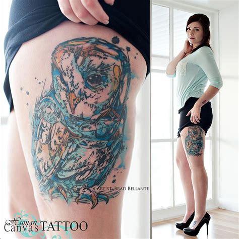 human canvas tattoo watercolor owl thigh human canvas brad