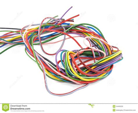 up of multicoloured electrical wire stock photo