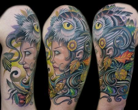 mystic owl tattoo nature with owl by vince villalvazo tattoonow
