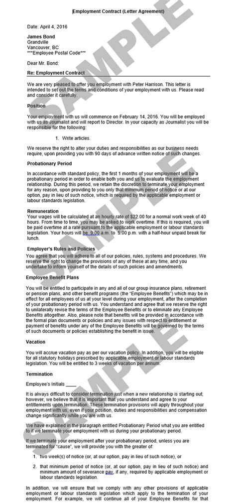 Contract Letter For Employee Letter Format Employment Agreement With Attached Confidentiality Agreement