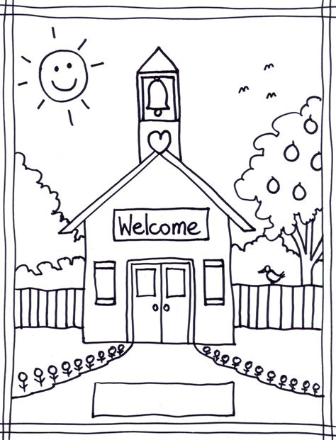 A House Coloring Page by School House Coloring Page Az Coloring Pages