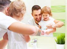dad daughter in bathroom girl brushing teeth stock vector illustration of little