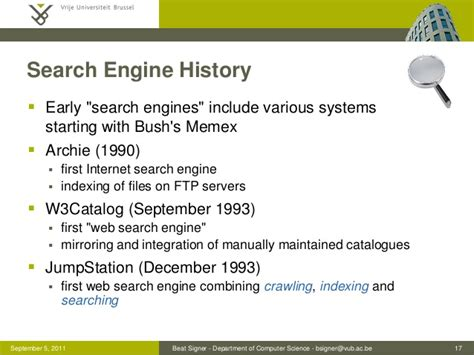 The History Of Search Engines History Of Search And Web Search Engines Seminar On Web Search