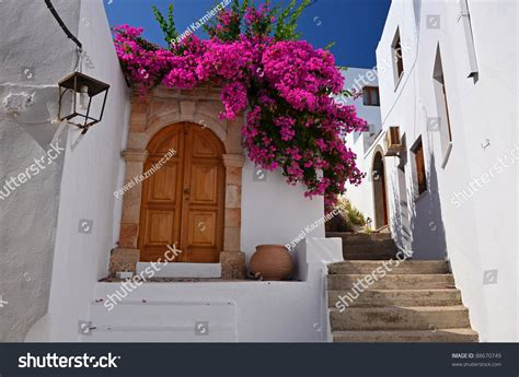 greek house music greek house in lindos town rhodes island stock photo 88670749 shutterstock