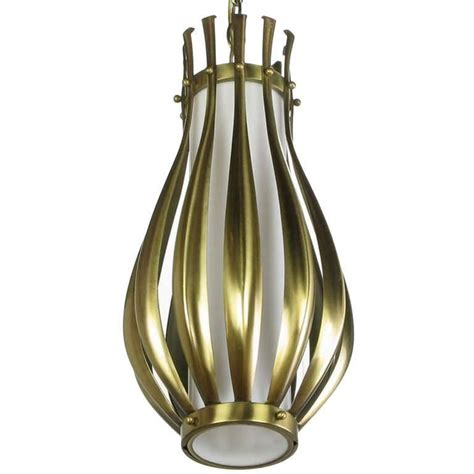 Gourd Form Brushed Brass And Milk Glass Pendant Light For Milk Glass Pendant Light