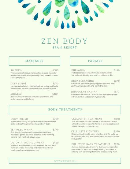 Menu Templates Canva Salon Service Menu Template