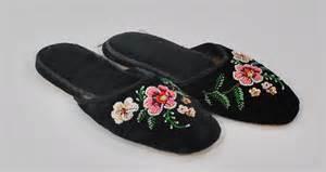 Bohemian luxe housewife slippers vintage black velvet slip on