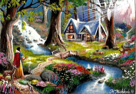 Disney Snow White Cottage by Original Aceo Snow White Discovers The Cottage Disney