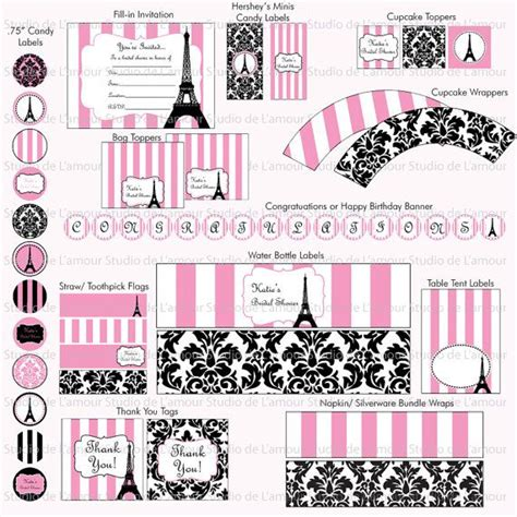 paris themed party kit printable paris theme diy party kit birthdays bridal by