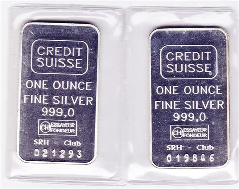 1 Troy Ounce Silver Bar - 2 silver bars of 1 troy ounce quot credit suisse quot catawiki