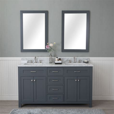 alya bath norwalk double bathroom vanity gray carrera marble top