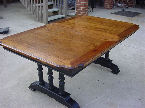 Refinished Patterned Oak Veneer Top TRESTLE DINING TABLE